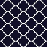 Vector moroccan repeat seamless pattern. White on dark blue background royalty free illustration