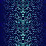 Seamless dark blue ornamental Wallpaper. Royalty Free Stock Photography