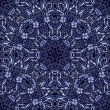 Seamless dark blue pattern with blue flowers. vector illustration
