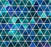 Seamless dark blue triangular pattern. Watercolor background. 2d hand drawn seamless pattern with dark blue green triangular mosaic. Deep space colorful ornament Royalty Free Stock Photos
