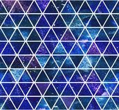 Seamless dark blue triangular pattern. Watercolor background. 2d hand drawn seamless pattern with dark blue violet triangular mosaic. Deep space colorful Royalty Free Stock Image
