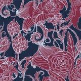 Seamless dark floral background. Hand drawn illustration for design Stock Photos