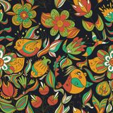Seamless dark floral pattern with birds Royalty Free Stock Photos