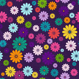 Seamless dark floral vivid pattern. Seamless floral vivid pattern with colorful flowers and vintage curls (vector eps 10 Royalty Free Stock Photography