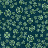 Seamless dark green flower mandala for print on textile, fabric, coloring books and abstract backgrounds Stock Photos