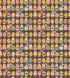 Seamless dark pattern with easter chickens Stock Photos