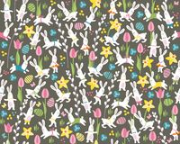 Seamless dark pattern with easter rabbits Stock Image