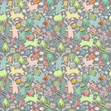Seamless dark pattern with easter rabbits Royalty Free Stock Photography