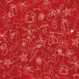 Seamless dark pattern with traditional Christmas elements. Stock Photo