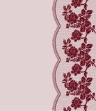 Seamless dark red lace frame Stock Photos