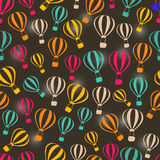 Seamless Dark Retro Pattern with Striped Hot Air Balloons Royalty Free Stock Photography