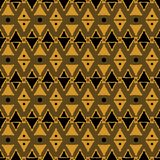 Seamless dark tribal pattern of triangular geometric elements an. D dots. Abstract ethnic vector ornament. Black, orange, brown colors Royalty Free Stock Image