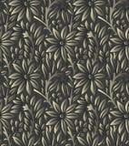 Seamless dark vector leaves wallpaper Stock Images