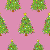Seamless Decorated Trees Stock Images