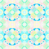 Seamless decorative back ground, colorful rings overlapping squares, very light pastel colors. Background design, seamless decorative, colorful rings overlapping Royalty Free Stock Images