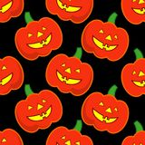Seamless decorative  background Happy Halloween. Halloween Party with pumpkins. Textile rapport Stock Photos