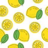 Seamless decorative background with yellow lemons. Lemon hand draw pattern. Vector illustration.  Royalty Free Stock Images