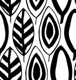 Seamless decorative black and white pattern with ink drawn leaves. Stock Photo