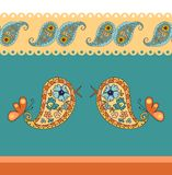 Seamless decorative border birds and paisley ornament. Royalty Free Stock Images