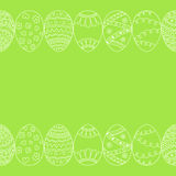 Seamless decorative border of hand drawn easter egg. Line art Royalty Free Stock Photography