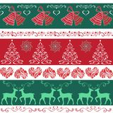 Seamless decorative borders Christmas bells, Christmas trees, he. Arts, reindeer Royalty Free Stock Photo