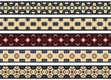 Seamless decorative borders. Set of five illustrated decorative borders made of abstract elements in beige, green, brown, purple and blue vector illustration