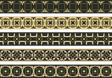 Seamless decorative borders. Set of five illustrated decorative borders made of abstract elements in beige, brown and black royalty free illustration