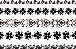 Seamless decorative borders. Set of five illustrated decorative borders made of abstract elements in black Royalty Free Stock Image