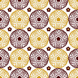 Seamless decorative circle pattern with gold ethnic ornament.Can be used for wallpaper, pattern fills, web page background, surfac Stock Photo