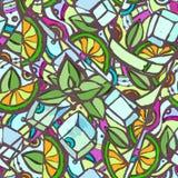 Seamless decorative cocktail pattern Stock Photos