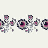 Seamless decorative floral background. Seamless border. Embroidery on fabric. Retro motif.