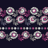 Seamless decorative floral background. Seamless border. Embroidery on fabric. Retro motif. Textile rapport Royalty Free Stock Image