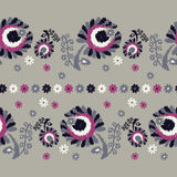 Seamless decorative floral background. Seamless border. Embroidery on fabric. Retro motif. Textile rapport Royalty Free Stock Images