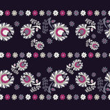 Seamless decorative floral background. Seamless border. Embroidery on fabric. Retro motif. Textile rapport Stock Photography