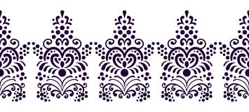 Seamless decorative floral border for frames. Classic, old style illustration. Vintage lace ornament. Hand drawn Stock Images