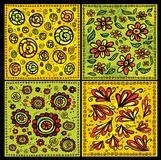 Seamless decorative floral scrolls vector patterns. Set Stock Photography
