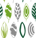 Seamless decorative green pattern with ink drawn leaves. Royalty Free Stock Photo