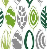 Seamless decorative green pattern with ink drawn leaves. Vector texture in grunge style. Stock Image