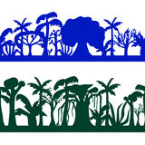 Seamless decorative ornament of tropical tree silhouettes. Trees seamless pattern. Stock Images