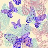 Seamless decorative pattern with colorful butterfl Royalty Free Stock Images