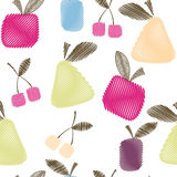 Seamless decorative pattern with fruits, bright spring or summer Royalty Free Stock Images