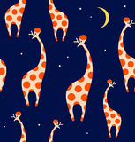 Seamless decorative pattern with funny giraffes. Cute colorful texture. Royalty Free Stock Photography