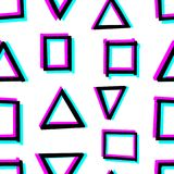 Seamless decorative pattern with hand drawn geometry shapes. 3d stereoscopic effect. Seamless decorative pattern with hand drawn geometry shapes. Simple Royalty Free Stock Photo