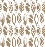 Seamless decorative pattern with ink drawn leaves. Beige texture in grunge style. Royalty Free Stock Image