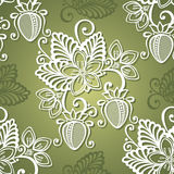 Seamless Decorative Pattern with Strawberry Stock Photo