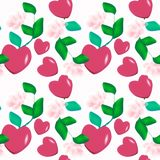 Seamless decorative pattern of Valentine hearts on pink background floral ornament. Texture fabric Wallpaper Stock Image