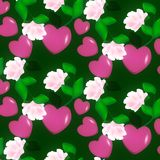 Seamless decorative pattern of Valentine hearts on pink background floral ornament. Texture fabric Wallpaper Stock Images