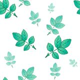 Seamless decorative template texture with green leaves. royalty free illustration
