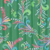 Seamless decorative vector pattern. Seamless vector plants pattern in multicolor on the decorative green background as a fabric texture Royalty Free Stock Photos