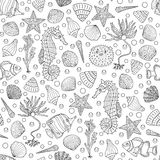 Seamless deep sea background with sea shells Royalty Free Stock Photography